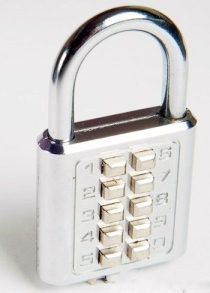 Padlock with numerical keycode buttons